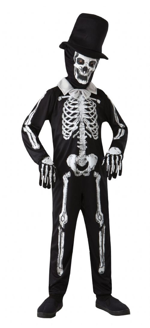 Childs Skeleton Bone Zombie Costume Living Dead Halloween Fancy Dress Outfit